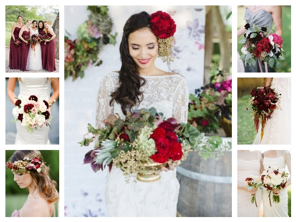 Color to bridal bouquet marsala